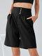 Plain Button Front High Waist Bermuda Shorts with Pocket - Black
