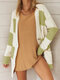 Contrast Color Long Sleeve Casual Cardigan For Women - Green