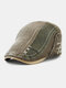 Collrown Men Cotton Patchwork Contrast Color Hand Stitched Letter Pattern Embroidery Beret Flat Cap - Olive Green