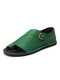 Large Size Women Retro Solid Color Buckle Clip Toe Flat Sandals - Green
