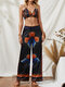 Bohemian Butterfly Print Tube Top & Drawstring Pants Sexy Two-piece Suit - Black