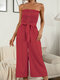 Polka Dot Print Tie-up Waist Button Front Tube Jumpsuit - Wine Red