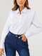 Solid Color Lapel Long Sleeve Button Blouse For Women - White