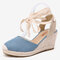 LOSTISY Women Wearable Ankle Lace Up Espadrilles Wedges Sandals - Blue