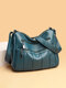 Ladies Simple Practical Soft Cow Leather Crossbody bag - Blue