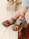 Large Size Women Color Splicing Hollow Closed Toe Hook Loop Wedges Sandals - Blue