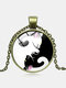 Vintage Glass Printed Women Necklace Yin-Yang Black-White Cat Pendant Necklace Jewelry Gift - Bronze