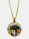 Vintage Glass Printed Women Necklace Black Cat Bookcase Crystal Pendant Sweater Chain Jewelry Gift - Bronze