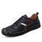 Men Retro Leather Soft Wearable Sole Hand Stitching Casual Flat Shoes - Black
