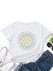 Calico Print Cotton O-neck Short Sleeve Casual T-Shirt For Women - White