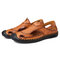 Menico Men Hand Stitching Closed Toe Outdoor Soft Leather Sandals