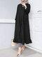 Women Ethnic Solid Color Button Ruffled Hem Pocket Casual Dress - Black