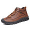 Men Retro Hand Stitching Leather Non Slip Casual Ankle Boots - Yellow