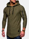Mens Breathable Solid Color Irregular Hem O-neck Long Sleeve Slim Casual Hooded T Shirts - Army Green