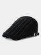 Men Cotton Solid Color Vertical Stripe Stitching Sunscreen Casual Beret Flat Caps - Black