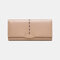 Women Hollow Out Multifunctional Multi-card Slots Photo Card Phone Bag Money Clip Wallet Purse - Apricot