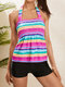 Plus Size Women Halter String Colorful Striped Elasticity Cover Belly Tankini Swimwear - Red