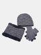 男性2 / 3PCSPlusベルベット暖かく冬の首の保護ヘッドギアスカーフフルフィンガーグローブニット帽ビーニー - #10