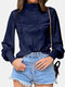 Solid Color High-collar Button Long Lantern Sleeve Casual Blouse for Women - Navy