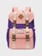 Women Waterproof Patchwork Large Capacity Travel Backpack School Bag - Purple