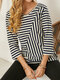 Striped Print Patchwork O-neck Long Sleeve Casual Cotton T-Shirt for Women - Blue
