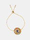 Ethnic Colored Gems Women Bracelet Adjustable Vintage Demon Eye Inlaid Rhinestone Bracelet - #03