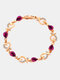 Vintage Heart Women Bracelet Hollow Inlaid Diamonds Bracelet Valentine's Day Gift - Purple