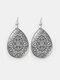 Vintage Glass Printed Women Earrings Geometric Flower Pendant Earrings Jewelry Gift - #04