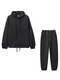Solid Color Drawstring Pocket Long Sleeve Casual Sport Suit for Women - Black