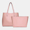 Women 2 PCS Multi-pocket Large Capacity Removable Key Multifunctional Handbag Tote - Pink