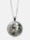 Vintage Glass Printed Women Necklace Horse Head Pendant Sweater Chain Jewelry Gift - Silver