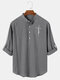 Mens Plain Half Button Cotton Long Sleeve Henley Shirts With Sleeve Tabs - Gray
