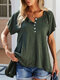Solid Color O-neck Button Short Sleeve Loose T-Shirt For Women - Army Green