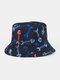 Unisex Cotton Overlay Fishbone Butterfly Pattern Printed Double-sided Wearable Fashion Sun Protection Bucket Hat - #01