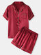 Plus Size Women Solid Color Revere Collar Faux Silk Home Pajama Sets - Red