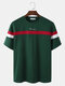 Mens Stripe Spliced Embroidered Loose Varsity Short Sleeve T-Shirts - Green