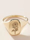 Vintage Stylish Alloy Sunflower Pattern Wedding Party Ring - Gold