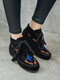 Women Retro Ethnic Embroidered Increased Heel Lace Up Short Boots - Black