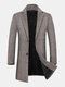 Mens Houndstooth Woolen Single-Breasted Lapel Mid-Length Overcoat - Khaki