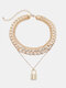 Vintage Elegant Alloy Rhinestone Multilayer Personality Chain Necklace - Gold