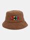 Women & Men Woolen Embroidery Fish Bone Cute Casual Bucket Hat - Coffee