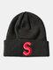 ユニセックスニットウールSレターパターン刺繡ビーニーハットニット帽 - 黒1#