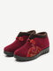 Women Casual Warm Embroidery Notional Pattern Ankle Snow Cotton Boots - Red