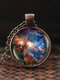 Vintage Glass Gem Women Necklace Universe Starry Sky Pendant Necklace Jewelry - #01
