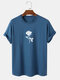 Mens 100% Cotton Rose Pattern Casual Round Neck Short Sleeve T-Shirt - Blue