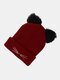 Women Warm Elastic Casual Cartoon Cute Cat Embroidery Pattern Knitted Hat Brimless Beanie - Wine Red