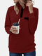 High Neck Button Long Sleeve Plus Size Sweatshirt With Pocket - Wine Red