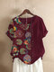Floral Printed Patchwork O-neck Button T-shirt - Wine Red