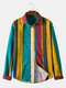 Mens Striped Print Colorblock Breathable Long Sleeve Shirts - Blue
