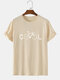 Mens 100% Cotton Funny COOL Bicycle Print Short Sleeve T-Shirt - Apricot